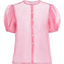 Dannijo Women's Organza Short Puff-Sleeve Silk Blouse - Pink - Size Small found on MODAPINS from Saks Fifth Avenue for USD $276.00