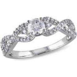 0.75CT Diamond 14K White Gold Engagement Ring