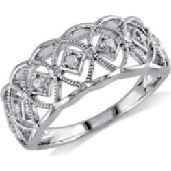 .10 CT Diamond and Sterling Silver Openwork Ring