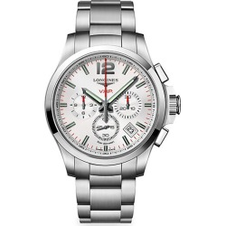 Longines Men's Conquest 42MM Stainless Steel White Chronograph Watch found on MODAPINS from Saks Fifth Avenue for USD $1625.00