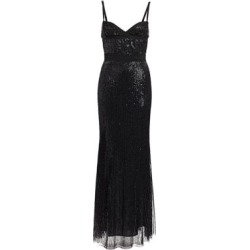 Sequin Embroidered Thin Strap Gown