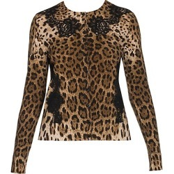 Dolce & Gabbana Women's Lace Detail Wool-Blend Leopard Print Cardigan - Leopard Print - Size 36 (0) found on Bargain Bro India from Saks Fifth Avenue for $1845.00