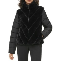 Faux Fur Stand Collar Coat