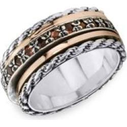 Bague de méditation Endless en argent sterling 925 et en or rose 10 ct sertie d'un grenat de Eternal Jewel