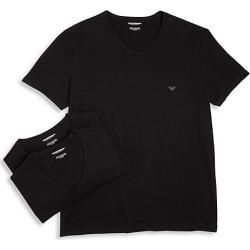 Emporio Armani Men's Genuine Cotton V-Neck T-Shirts Set of 3 - Black - Size L