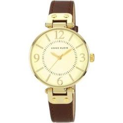 Montre au ton doré avec bracelet en cuir