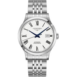 Longines Men's Record 40MM Stainless Steel Automatic Bracelet Watch - White found on MODAPINS from Saks Fifth Avenue for USD $2025.00