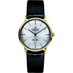 American Classic Intra-Matic Auto Goldtone Stainless Steel & Leather Strap Watch