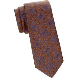 Brioni Men's Medallion Silk Tie - Brown Blue found on MODAPINS from Saks Fifth Avenue for USD $240.00