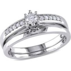 0.24 TCW Diamond and Sterling Silver Bridal Ring Set