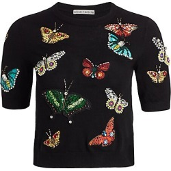 Alice + Olivia Women's Ciara Butterfly Embroidery Stretch-Wool Pullover - Black Multi - Size Large found on Bargain Bro India from Saks Fifth Avenue for $395.00