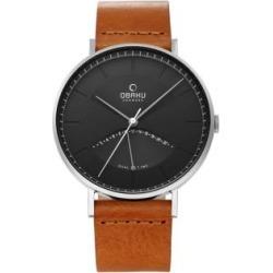 Montre Elm en acier inoxydable avec bracelet en cuir