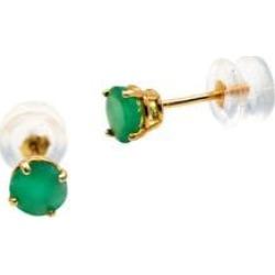 Boutons d'oreilles en or jaune 10 ct avec émeraude de mai