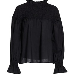 Merlette Women's Majorelle Hand-Smocked Cotton Blouse - Black - Size Medium found on MODAPINS from Saks Fifth Avenue for USD $380.00