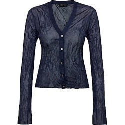 Theory Women's Crinkle Cardigan - Navy - Size Small