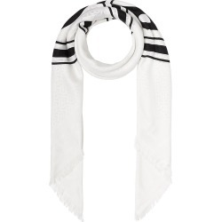 Burberry Women's Large Logo Graphic Silk & Wool Jacquard Square Scarf - White Black found on Bargain Bro from Saks Fifth Avenue for USD $471.20