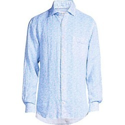 Peter Millar Men's Printed Linen Sport Shirt - Barracuda - Size Medium found on Bargain Bro Philippines from Saks Fifth Avenue for $74.50