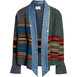 Greg Lauren Men's Mixed Media Kimono Cardigan - Grey Red Blue - Size 1 (Small) found on MODAPINS from Saks Fifth Avenue for USD $1500.00