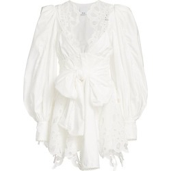 Acler Women's Vicount V-Neck Lace Eyelet-Trim Puff-Sleeve Tie-Waist Mini A-Line Dress - Ivory - Size 4 found on MODAPINS from Saks Fifth Avenue for USD $239.19