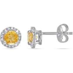 Dormeuses en argent sterling avec citrines et diamants de 0,07 ct PT
