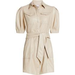 Jonathan Simkhai Women's Novah Vegan Leather Short Sleeve Mini Dress - Egret - Size 10 found on MODAPINS from Saks Fifth Avenue for USD $445.00