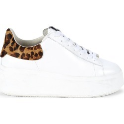 Ash Women's Women's Moby Leopard-Print Calf-Hair Trimmed Leather Platform Sneakers - White - Size 37 (7) found on MODAPINS from Saks Fifth Avenue for USD $205.00