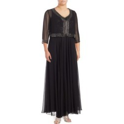 Plus Embellished Crepe Jacket and Gown
