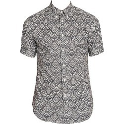 Alexander McQueen Men's Lace-Print Button-Down Shirt - Shell Black - Size 15 found on MODAPINS from Saks Fifth Avenue for USD $354.00
