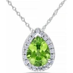 .2 CT Diamond TW And 1.625 CT TGW Peridot Fashion Pendant With 14k White Gold Chain