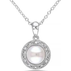 Collier en halo en argent sterling avec diamants 0,03 ct PT et perle d'eau douce