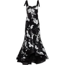 Evangeline Sequin Floral Ruffle Gown
