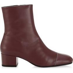 Staud Women's Stella Square-Toe Leather Ankle Boots - Bordeaux - Size 38 (8)