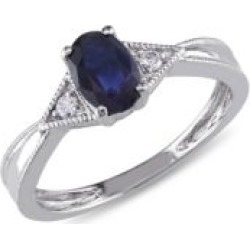14K White Gold Sapphire 0.03 Total Carat Weight Diamond Ring