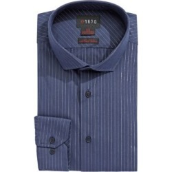 Slim Fit Silver Stripe Stretch Cotton Dress Shirt found on Bargain Bro India from The Bay for $14.99