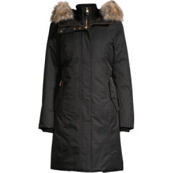 Harlowe Coyote Fur-Trim Hooded Down Coat