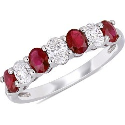 Saks Fifth Avenue Women's 14K White Gold, Ruby & Diamond Semi-Eternity Ring/Size 5 - Size 5 found on Bargain Bro from Saks Fifth Avenue OFF 5TH for USD $1,605.50