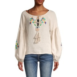 All Things Mochi Women's Embroidered Linen Top - Grey - Size L found on MODAPINS from Saks Fifth Avenue OFF 5TH for USD $99.99