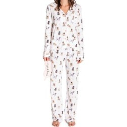 3-Piece Dog-Print Cotton-Blend Sleep Mask & Pajama Set