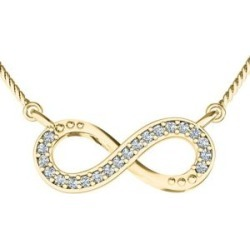 10K Yellow Gold Crystal Infinity Necklace