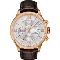 Montre chronographe de ton or rose Chemin des Tourelles avec bracelet en cuir