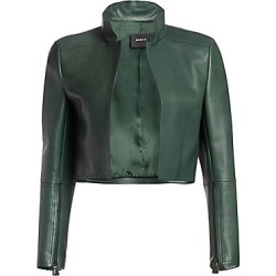 Akris Women's Cropped Leather Jacket - Pine - Size 16