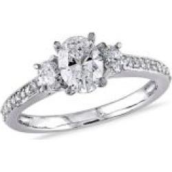 Diamond Bridal 14K White Gold Oval Diamond 3-Stone Engagement Ring