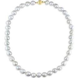 Collier à rangs de perles blanches de 8 à 10 mm et or jaune 14 ct