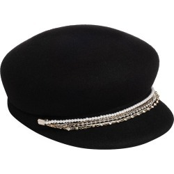 Eugenia Kim Women's Sabrina Embellished Chain-Trimmed Wool Newsboy Cap - Black found on MODAPINS from Saks Fifth Avenue for USD $295.00