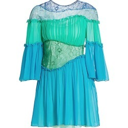 Alberta Ferretti Women's Gathered Lace Silk Mini Dress - Green Multi - Size 40 (4) found on MODAPINS from Saks Fifth Avenue for USD $847.50