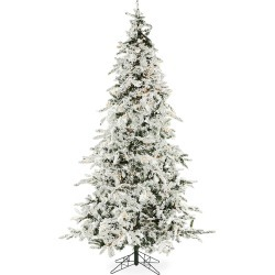 Christmas Time 7.5-Ft. White Pine Snowy Clear Smart String Lighting Artificial Christmas Tree