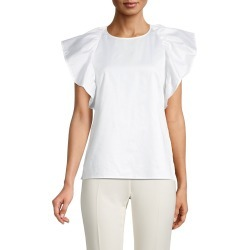 Jason Wu Women's Cotton-Poplin Flutter-Sleeve Top - Chalk - Size 10 found on MODAPINS from Saks Fifth Avenue OFF 5TH for USD $169.99