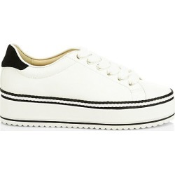 Joie Women's Dabnis Leather Flatform Sneakers - White - Size 36.5 (6.5) found on MODAPINS from Saks Fifth Avenue for USD $298.00