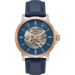 Men's Blue Leather Automatic Watch