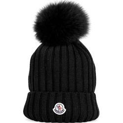 Moncler Women's Fur Pom-Pom Logo Knit Beanie - Black found on MODAPINS from Saks Fifth Avenue for USD $355.00